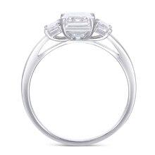 Transgems 18K 585 White Gold Moissanite Engagement Ring Center 6X8mm F Color Emerald Cut 3 Stone