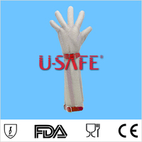 22cm long sleeve chain mail glove stainless steel mesh glove stainless metal mesh glove
