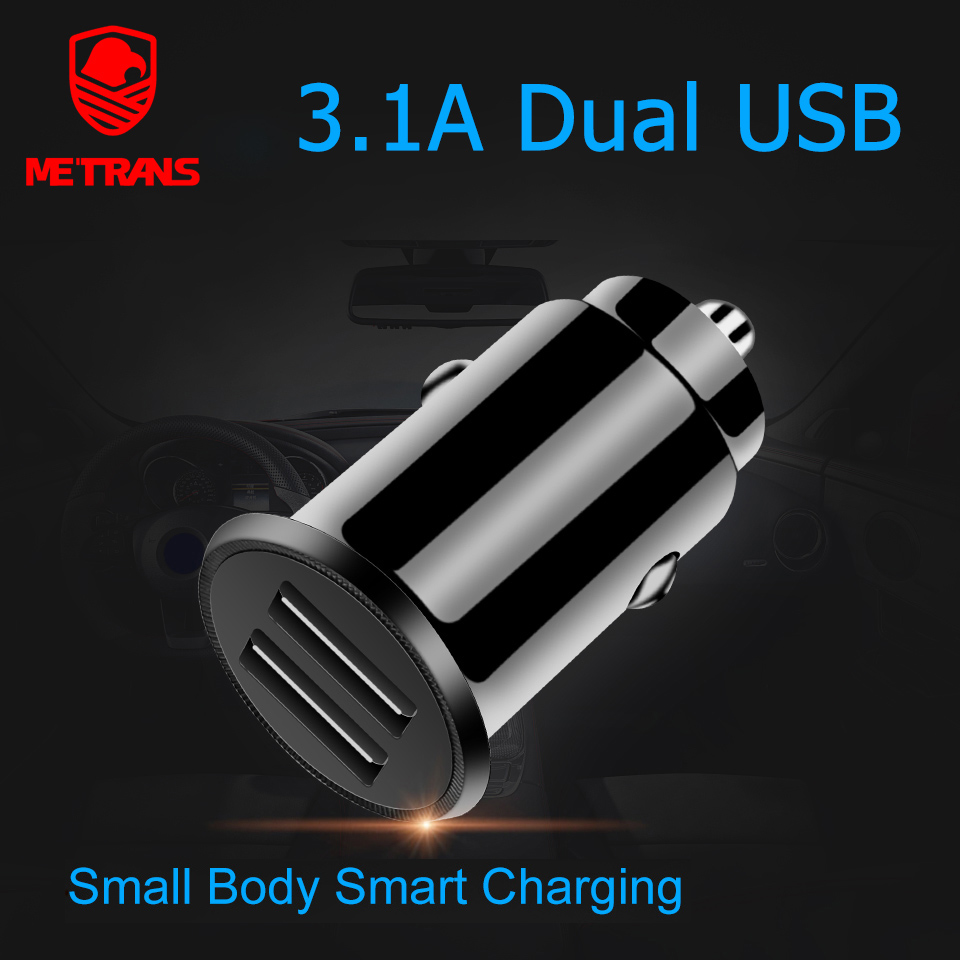 Metrans Car Charger For iPhone 3.1A Fast Mini Dual USB Phone In car Samsung Xiaomi Huawei