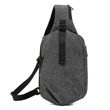 Men Chest Bag Sling Hip Pack Bags Explorer CrossBody Tighten Bumbag Teenager Waterproof Cloth Gray Oxford Anti Theft