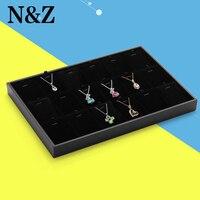 35*24 cm al por mayor 2015 Venta caliente nuevo negro caja de exhibición de la joyería cajas de joyas escaparate anillo caja pendiente soporte de exhibición