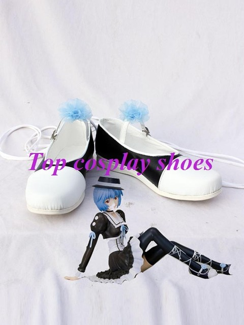 Freeshipping custom-made anime Neon Genesis Evangelion Cosplay Rei Ayanami  White shoes for Halloween Christmas festival