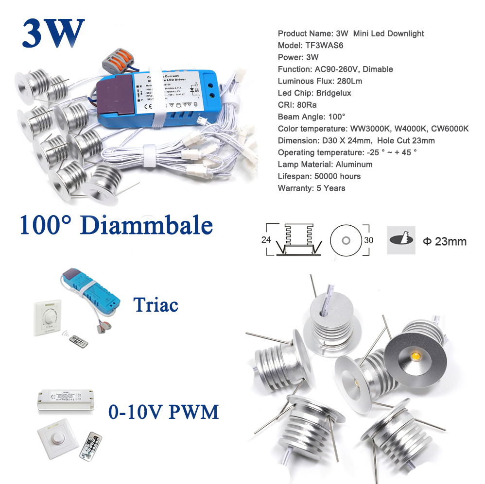 US $52.76 |8PCS 3W + LED Driver + Wires 280Lm 80Ra Bridgelux COB Downlight on