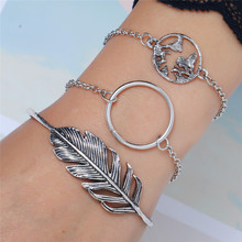 WNGMNGL 2019 Best New 3pcs/Set Vintage Femme Open Sliver Bracelet For Women Fashion Party Jewelry Gift Female Simple Bangles