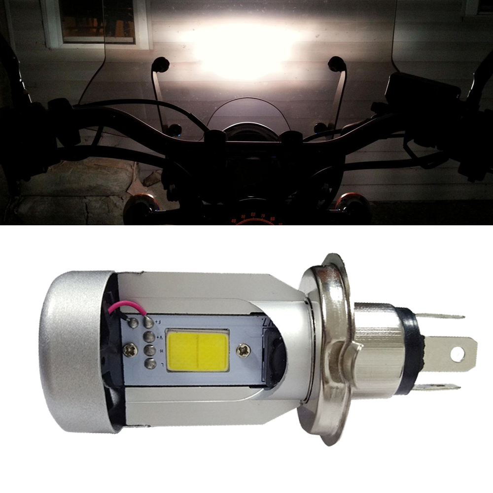 12V Waterproof Motorcycle LED Headlight H4 hi lo Bulb HS1 COB Head lamp 20W 2000LM 6500K xenon White Moped Motobike Led bulbs reflex de 2