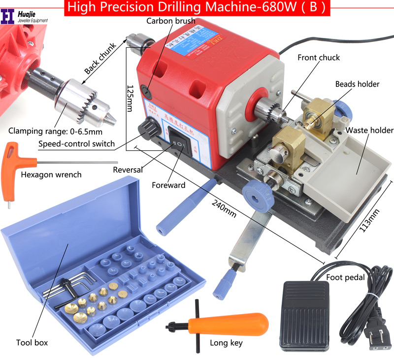 NEW! RED Stone Pearl Drilling Machine Jewelry Making equipments beading polishing tools 680W powerful Amber Holing Machine-in Jewelry Tools & Equipments from Jewelry & Accessories    2