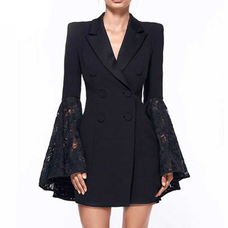 Spring Autumn Lapel Collar Lady Slim Blazer Flower Lace Hook Tuxedo Suits Double-breasted Flare Sleeves Stitching Long OL Jacket