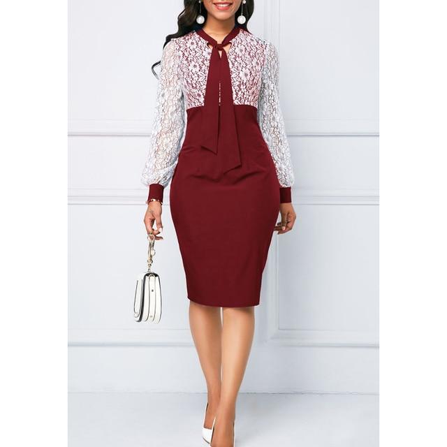 White Lace Summer Autumn Dress Women 2019 Casual Plus Size Slim Office Bodycon Dresses Elegant Sexy Long Sleeve Party Dress 5XL 5
