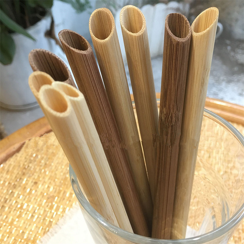 5 pçs/set 20 centímetros Apontou Smoothie Palhas Palhinha Eco Friendly Reutilizáveis Bambu Largo Grande Bolha de Beber Chá de Leite Escova De Palha
