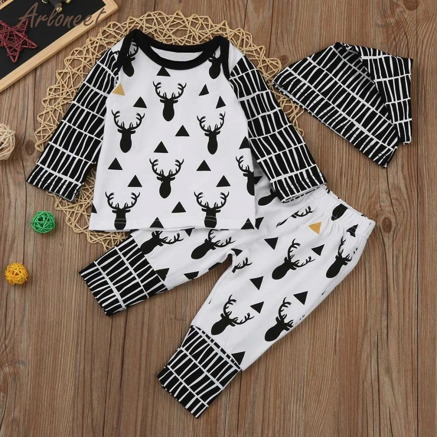 ARLONEET New Year Fashion Baby Boy Girl Clothes Newborn Baby Boy Girl Long Sleeve Deer Print Tops+Pant+Cap Outfits Clothes Set #