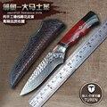 Hecho a mano forjado 60 HRC VG10 de acero de Damasco recto fija cuchillo cuchillos de caza al aire libre de alta dureza cuchillo supervivencia cuchillos