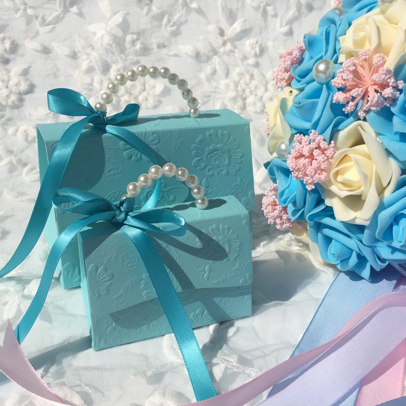 20PC Tiffany Blue Portable Party Wedding Favor Candy Boxes Baby Shower Gift Bag DIY Creative Guest Candy Box Romantic Mariage