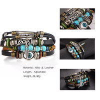 17KM Punk Design Turkish Eye Bracelets For Men Woman New Fashion Wristband Female Owl Leather Bracelet Stone Vintage Jewelry 3