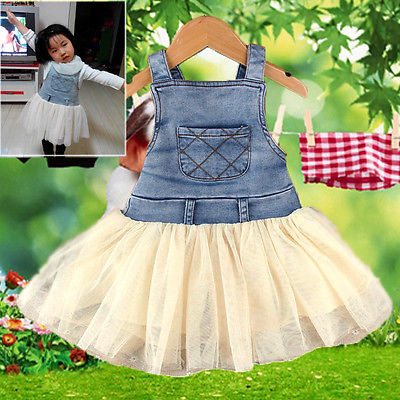 26f1d303d1 2016 Hot Lovely New Girls Dress Kids Baby Girls Sleeveless Clothes Summers  Denim Tutu Dress Overalls Age 6M 4Y Outfits-in Dresses from Mother   Kids  on ...