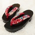 Women's Wood Sandals Black Color Med Heel Cosplay Shoes/Flip Flops/Beach Slippers Classic Japan Geta/Clogs Kimono Shoes