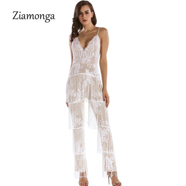 40790d8ca95e Ziamonga Bodycon Jumpsuit 2017 Summer Bodysuits Jumpsuit Lace Black Fringe Tassel  Jumpsuit White Overalls For Women