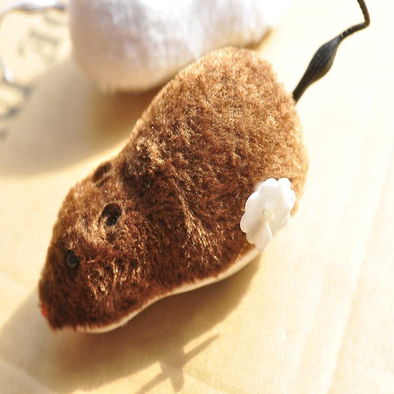 1 шт. коричневый белый плюшевый бегущий Ветер Мышь Забавный пугающий Хэллоуин хитрые детские игрушки случайного цвета Joking смешной подарок для кошки