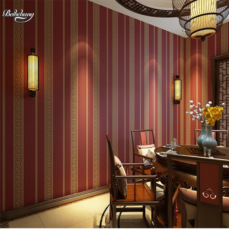 beibehang Simple Chinese Plain Wallpapers Non - woven Wallpaper Tea House Restaurant Study Bedroom TV Background Wallpaper