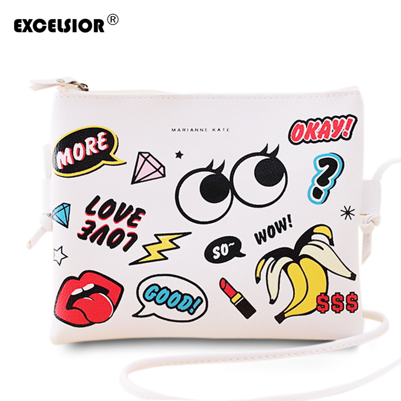 EXCELSIOR Moda Cartoon Printed Min Femei Bag PU din piele Crossbody sac de umar Doamnelor Casual Portmonee Mufe Girls Handbag