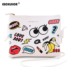 EXCELSIOR Fashion Cartoon Printed Min Women s Bag PU Leather Crossbody Shoulder Bag Ladies Casual Purses