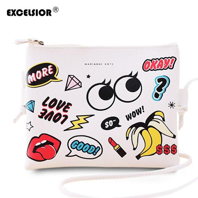 Excelsior мода мультфильм печатные женщины граффити сумки мини crossbody плеча сумка женская повседневная кошельки клатчи девушки сумочку
