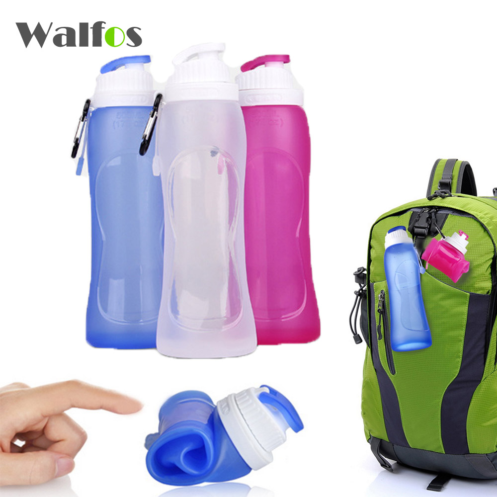 Walfos 500ML Creative Collapsible <font><b>Foldable</b></font> <font><b>Silicone</b></font> Sports Water Bottle Camping CanteensTravel <font><b>Cups</b></font>
