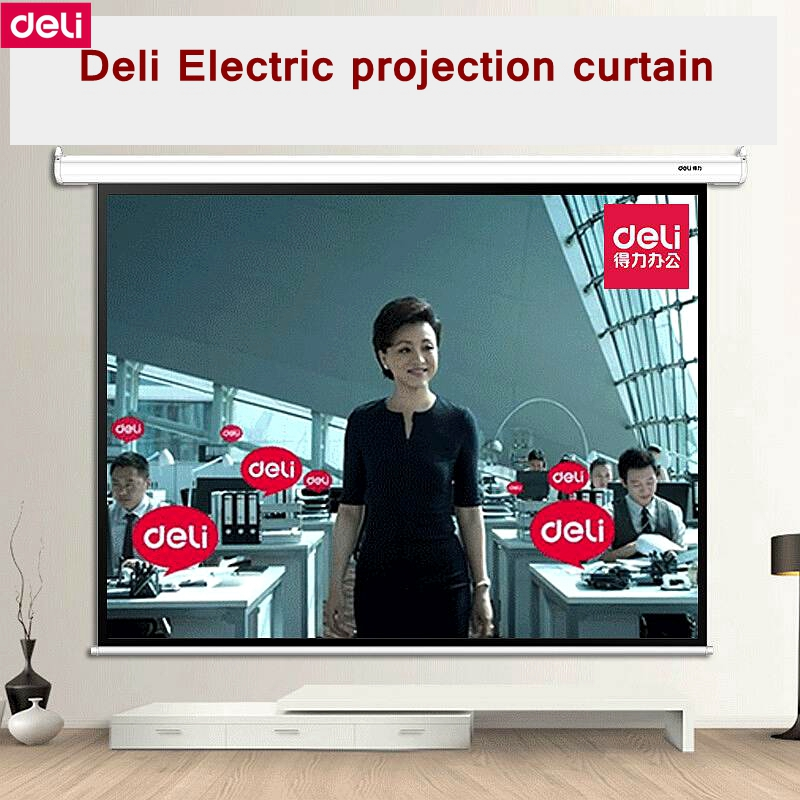 Deli 50492 100(2080x1480mm) 4:3 Electric Projection curtain Meeting room projection curtains 220-230V 50HZ tulle curtains 3d printed kitchen decorations window treatments american living room divider sheer voile curtain single panel
