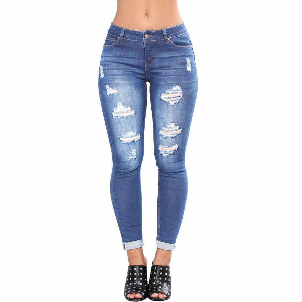 Aecker женские рваные джинсы с высокой талией ed Push Up брюки Стрейчевые джинсы-карандаши брюки для женщин синие обтягивающие джинсы с высокой талией Womnan