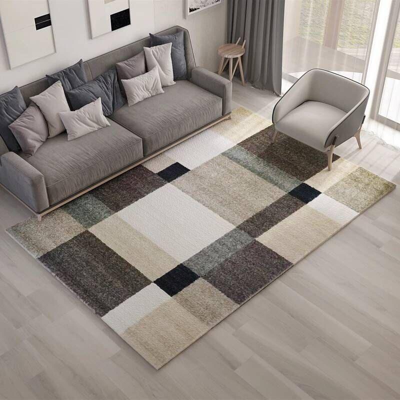 FYMX tapis à rayures carrées pour salon chambre cuisine chambre Rectangle tapis de sol antidérapant 3D imprimé tapis pour enfants jouer