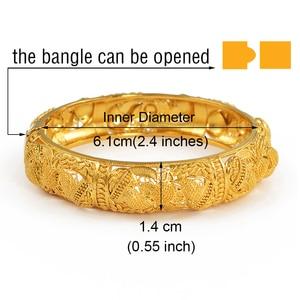 Image 2 - Anniyo 4pcs/Lot Dubai Wedding Bangles Ethiopian Jewelry Gold Color Africa Bracelets Women Arab Birthday Jewelry Gifts #199606