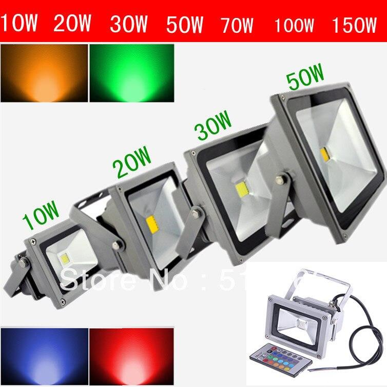 Free Shipping 10W 20W 30W 50W LED Flood Light IP65 Waterproof 85-265V High Power Outdoor Green Red Blue RGB Floodlight Lamp