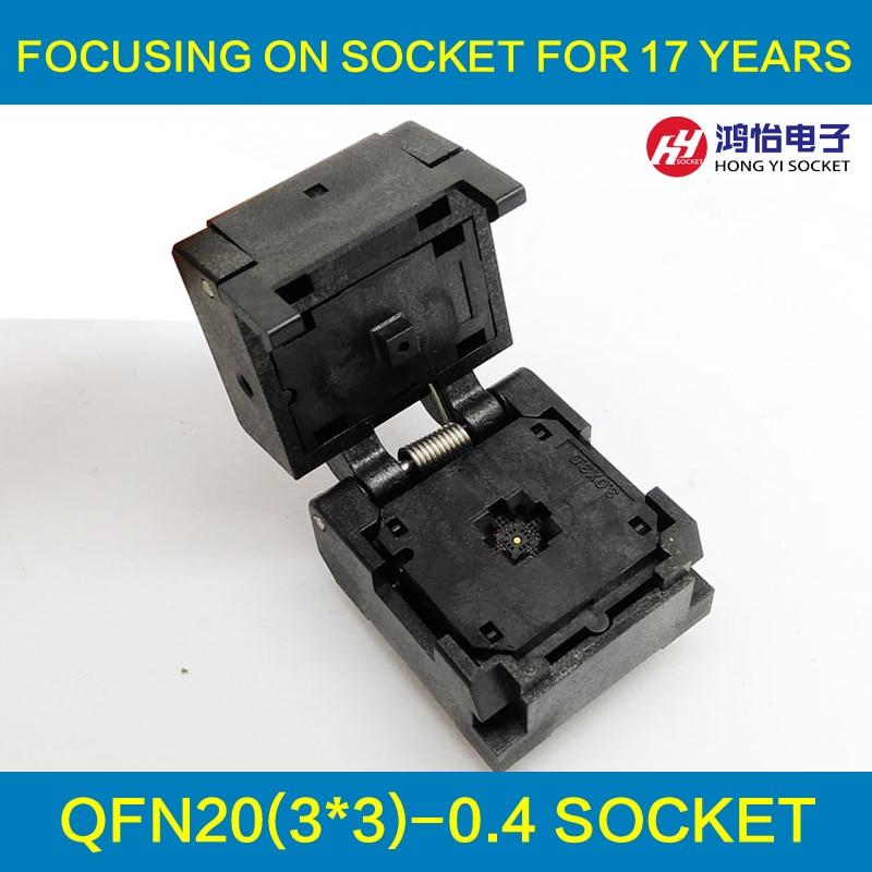 QFN20 MLF20 WLCSP20 Burn in Socket Adapter Pitch 0.4mm IC Body Size 3x3mm IC549-0204-005-G Clamshell Test Socket qfn20 to dip20 mlf20 mlp20 plastronics qfn ic programming adapter test burn in socket 4 4 mm 0 5 pitch free shipping