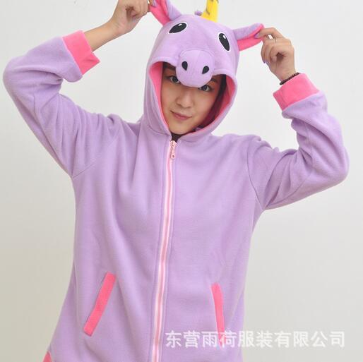 Purple Pegasus Coral Long Sleeve Animal Adult Hoody Sweatshirts Sweater Cosplay Costume For Party Wear Halloween Christmas Gift