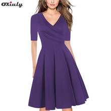 Spring Pure Blue Purple Ruffle V Neck Dress Half Sleeve Knee Length Office Ladies Casual Work A-Line Pleated Dresses Vestidos