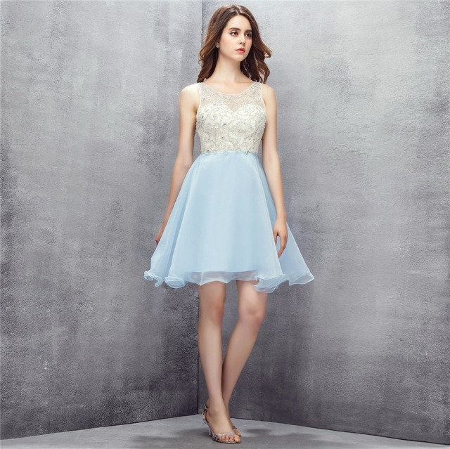 ce35be021cc 2018 Backlackgirl Trendy Light Blue Homecoming Dress Key Hole Back Organza  Beaded Short Sleeveless Cocktail Party Prom Dresses