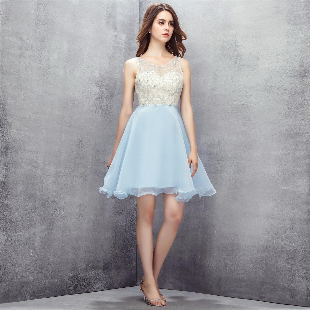 2018 Backlackgirl Trendy Light Blue Homecoming Dress Key Hole Back Organza Beaded Short Sleeveless Cocktail Party Prom Dresses