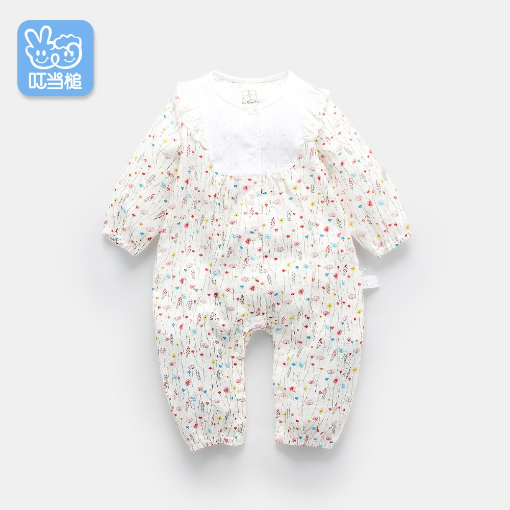 Dinstry 2018 Spring New baby girl romper new born baby clothes long sleeve floral print baby jumpsuit