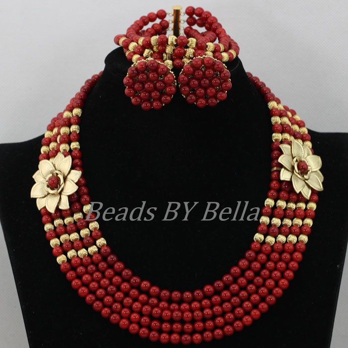 Splendid Nigerian Wedding Red Coral Beads Necklace Bridal Jewelry Sets Fashion African Costume Jewelry Set Free Shipping ABK033 splendid nigerian wedding bridal beads jewelry set red mix gold african traditional ceremony jewelry set free shipping hx837