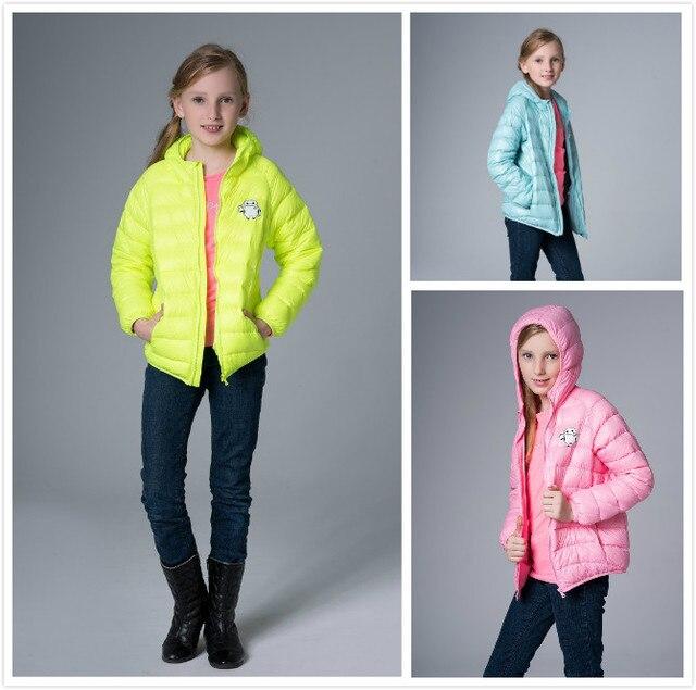 9d562ca0d99e 2015 nouvelle adolescent filles garçons Ultra - léger hiver doudoune 2 - 14  anos enfants capuchon