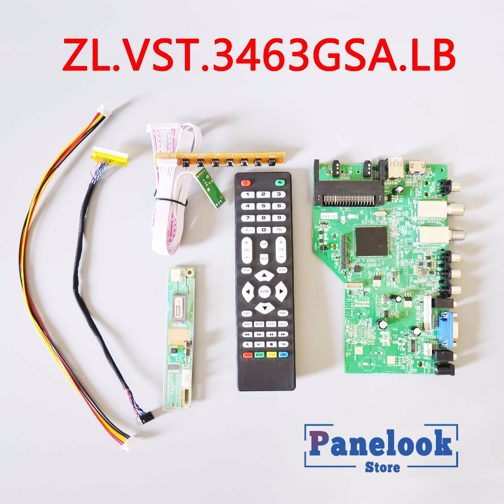 New ZL.VST.3463GSA.LB Universal Digital Driver Board Supports DVB-T2 DVB-S2 DVB-C With CI Card+7 Key Cable+Inverter+LVDS