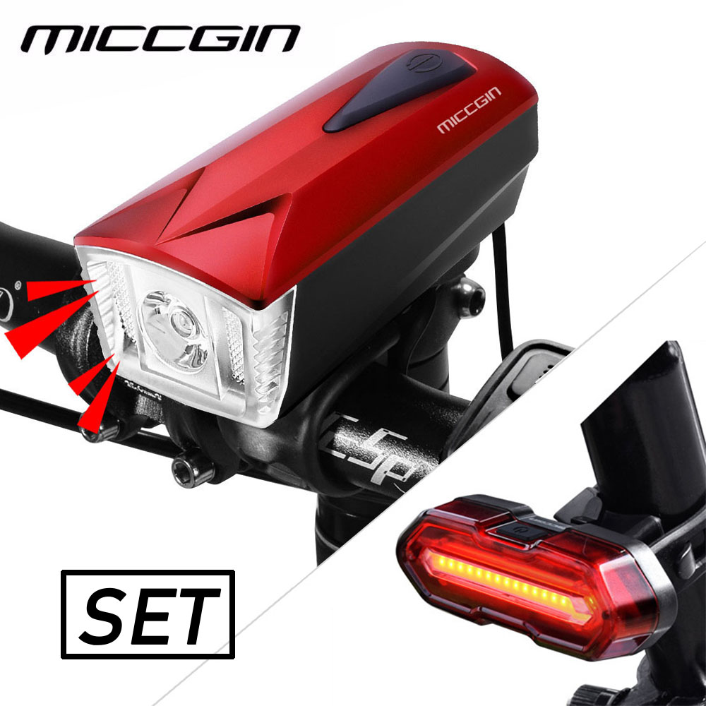 MICCGIN LED Bike Light Front Remote Horn Rear COB  Bicycle Light Set Lantern For Bicycle Cycle Bell Flashlight USB Rechargeable