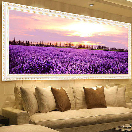 100*40 Needlework,DIY DMC Cross Stitch,Set For Embroidery Kit,Garden Lavender Lovesea Flower Pattern Cross-Stitch,Wall Home Deco