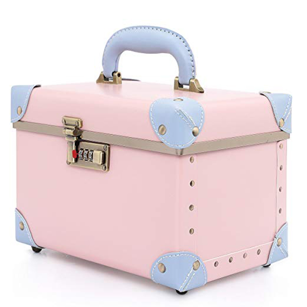Cosmetic Case Women Makeup Password Lock Cosmetic Bags Lady Leather Toiletry Case Girls Cosmetic Storage Box
