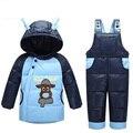 Детские комбинезоны зима детские мальчики девочки одежда костюмы снег носить теплую с капюшоном утка пуховик + тепловые комбинезоны ребенок верхняя одежда