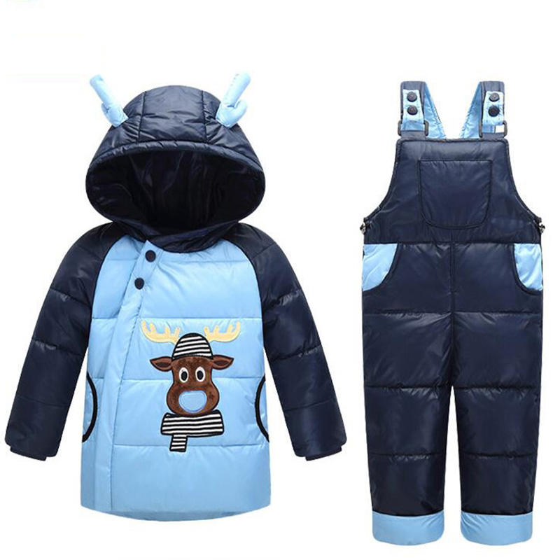 Baby Snowsuits Winter Infant Boys Girls Clothing Suits Snow Wear Warm Hooded Duck Down Jacket+Thermal Jumpsuits Baby Outerwear