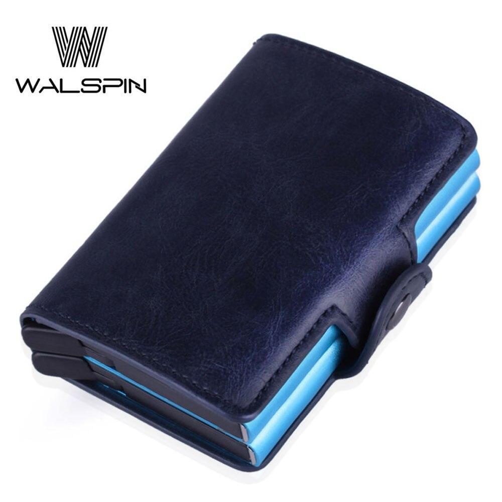 Blue RFID Card Holder Pop Up Aluminium Wallet Men Women ID Protector Slim Purse