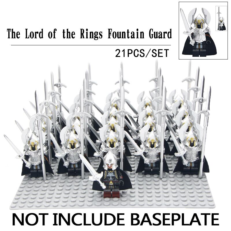 21pcs/lot The Lord Of The Rings Silver Fountain Guard Gondor Soldiers Shield Helmet Model Building Blocks Diy Toys For Children