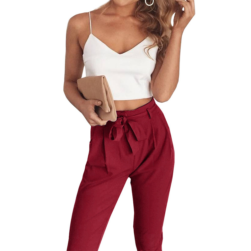 2018 New Pattern Autumn And Winter Camisole Vest Bandage Trousers Twinset Women   Pants     Capris