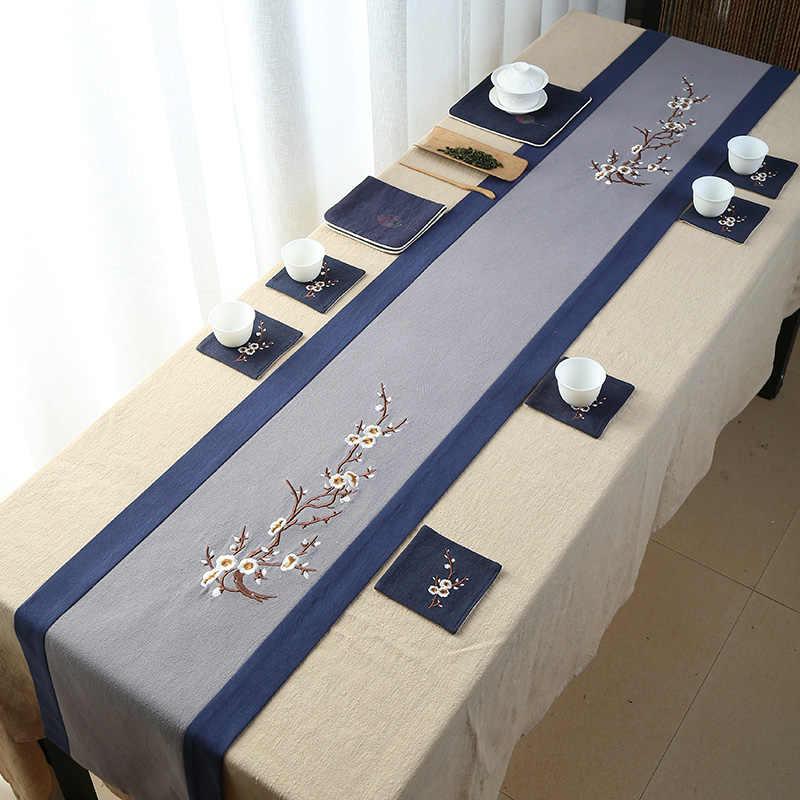 Китайские традиционные ручной вышивки цветок Настольная дорожка Zen Чай ware Мат Кубок Pad Чай салфетка кровать флаг Скатерть Home Decor