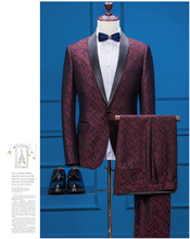 2017 Latest Coat Pant Design Burgundy Embossed Wedding Suits for Men Formal Slim Fit Skinny Groom Blazer 2 Piece Tuxedo Masulino